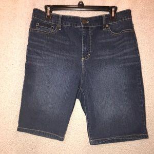 Denim knee length shorts